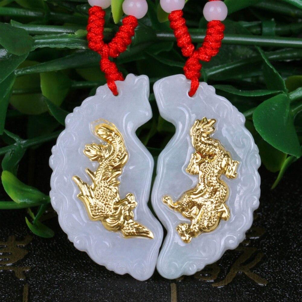 Or incrusté Jades Dragon Phoenix porter pendentif lettrage hommes et femmes collier émeraudes naturelles Hetian pendan bijoux fins