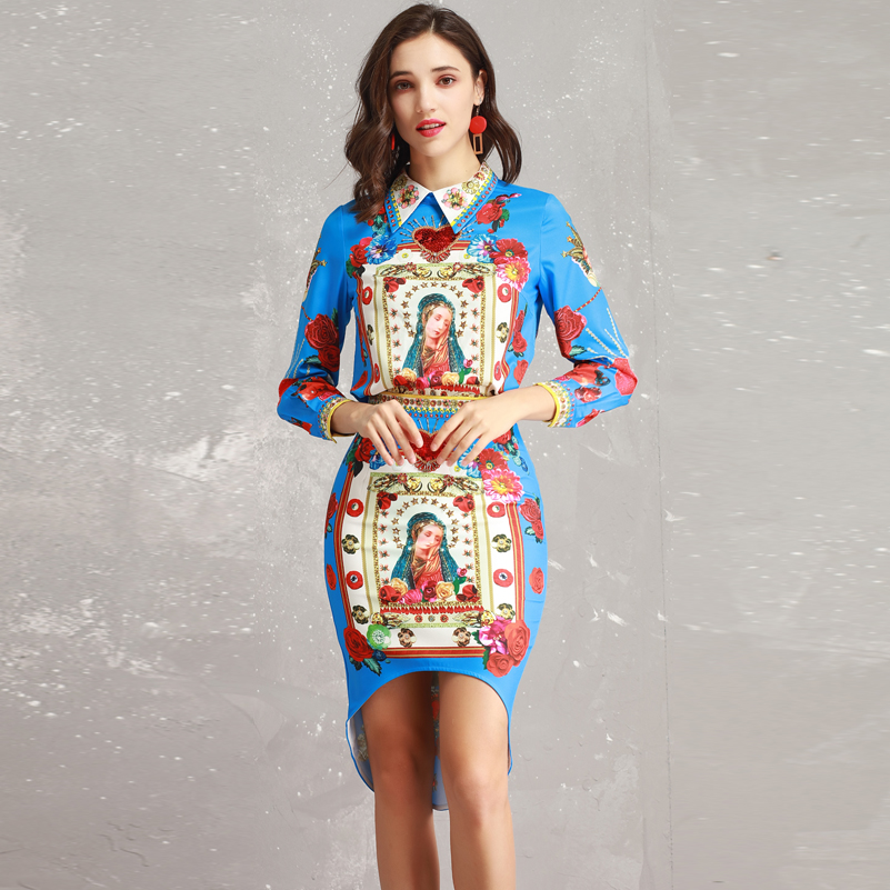 High quality Fashion runway set Women s Long Sleeve Sequin Beading Shirt Vintage Flower Madonna Print