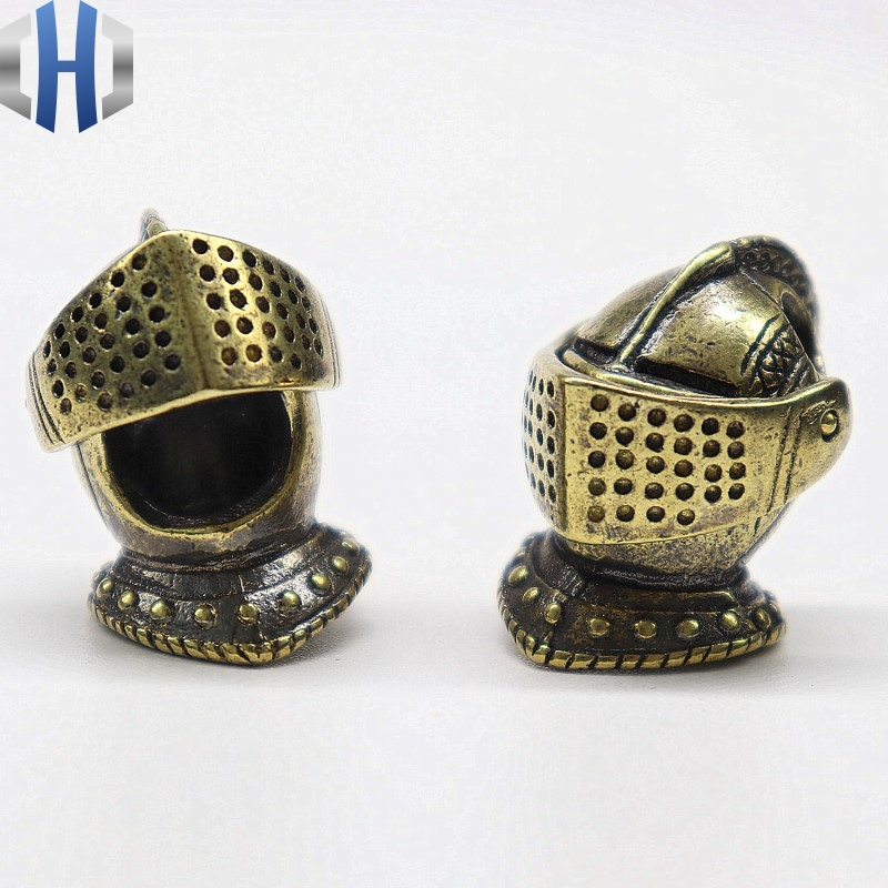 Pure Copper European Medieval Knight Knife Pendant Brass Can Open EDC Knife Paracord Beads DIY Woven Beaded Pendant Knife Beads