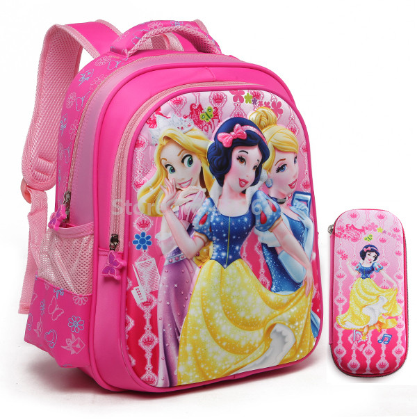 New 3D Princess Backpack School Bags With Pencil Case Set for Girls Kindergarten Preschool Elementary Primary