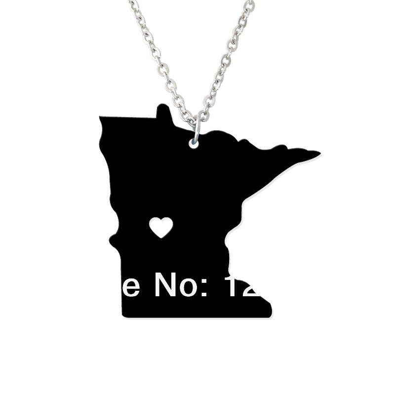 I heart Minnesota Necklace State Necklace Map Pendant - State Charm - Minnesota Map Custom map jewelry