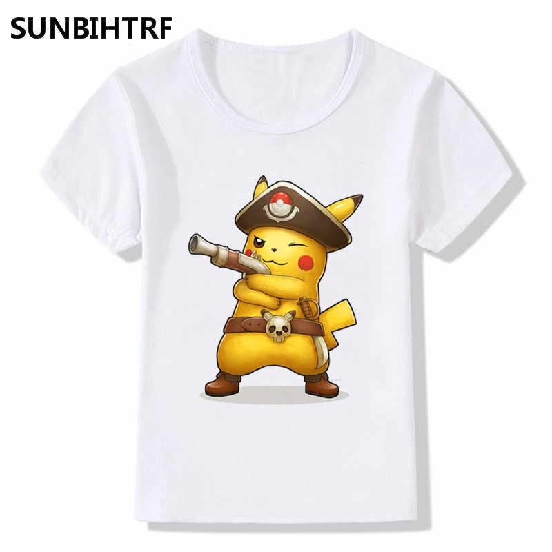 5d474f534 2018 Pirate Captain Pikachu Print Funny T-Shirts Summer Tops Short Sleeve  Big Boys/