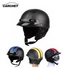 CARCHET Мотоциклетный Шлем Открытым Лицом Козырек Мотокросс Мотор Шлемы С Очками Шарф Регулируемый Для Зайца Ретро Открытый Велоспорт