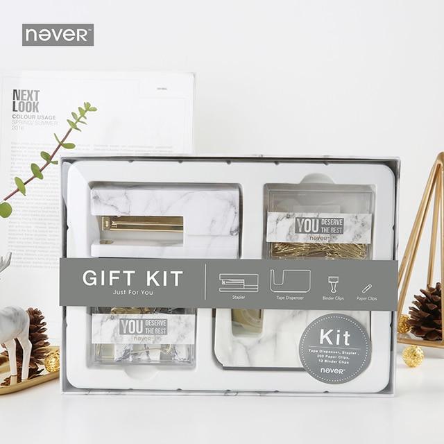 Never Marble Office Supplies Gift Kit Stationery Set Acrylic Stapler Tape Dispenser Paper Clip Binder