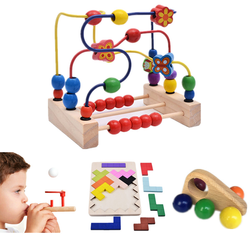 Baby Toys 4 In 1 Set Bead Maze/Tetris Blocks/Floating Ball/Mini Car Wooden Toys Super Value Set Child Educational Toys Gift cognitive bathtub floating toy bathroom game play set early educational newborn gift baby bath toys