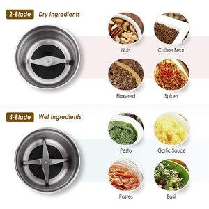Image 5 - 다용도 전기 커피 콩 그라인더 2 이동식 건조 및 습식 컵 스테인레스 스틸 밀러 씨앗 향신료 허브 견과류