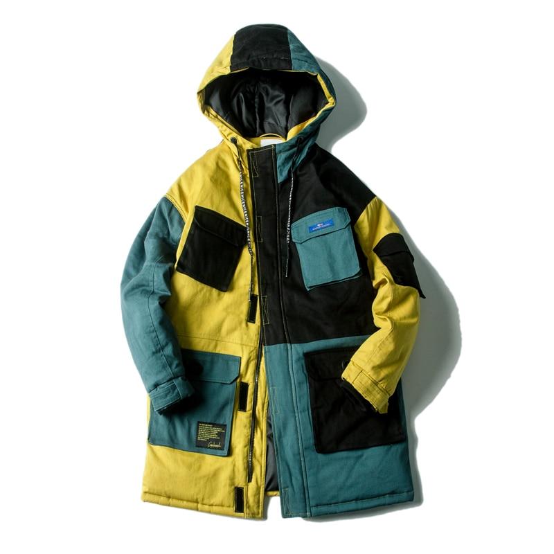 Long Winter Stitching Coat Cotton Parka Mens Winter Jacket Hooded Jacket Men Cotton Coat Winter Clothes winter