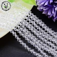 4/6mm faceted bicone imitation Crystal glass loowe jewelry making diy Bicone bead strands, grade aaa, clear, hole: 1mm