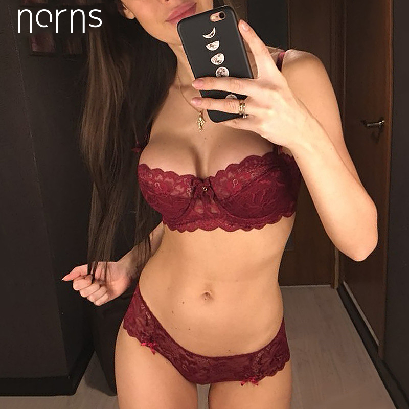 Norens new half cup Ultra-thin lace ladies underwear hollow lace embroidered push up   bras   women plus size underwear   set