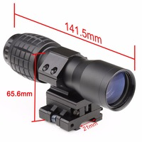 1PC Tactical Airsoft 4X Magnifier Magnifying Rifle Scope Focus Adjusted With Flip To Side Mount Scope