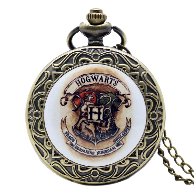 2019 Hot Movies Series Hogwarts Crest Bronze Antique Pocket Watch Quartz Fob Watches Men Women Teenager Popular Gift