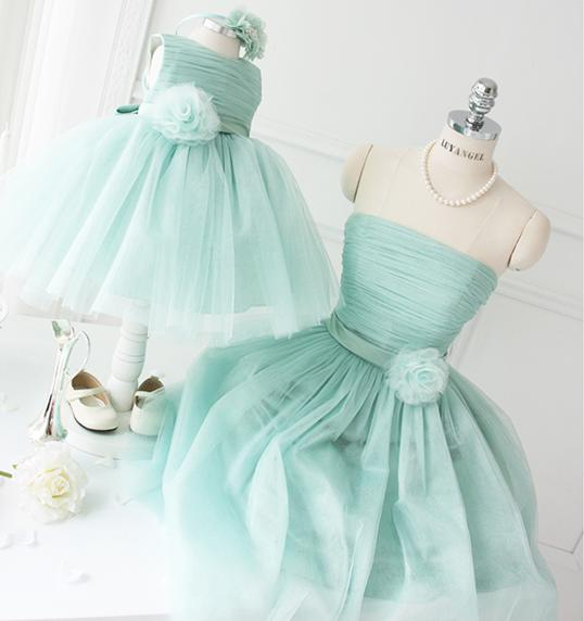 Mommy and Me Clothes Mom and Daughter Dress Wedding Formal Off Shoulder Family Matching Outfits Plus