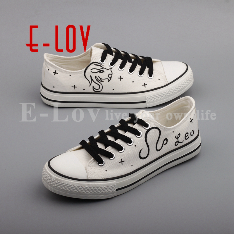 E-LOV Design Hand Painted Couples Lovers Canvas Shoes Custom Women Flats Casual Shoe Espadrilles Graffiti Leo Horoscope e lov new arrival luminous canvas shoes graffiti pisces horoscope couples casual shoes espadrilles women