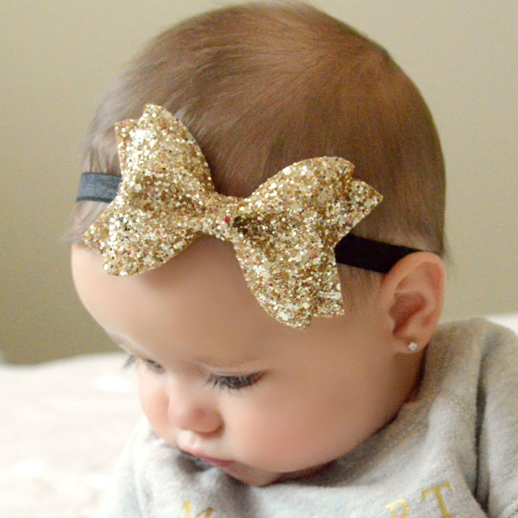 Girls Sequin Bow Headbands Kids Solid Elastic Hair Band Gold Glitter Hair Bow Headband Photography Props