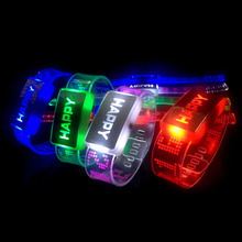 2018 Children s Novelty Glow Fashion Bracelet Luminous Toys colorful HAPPY Light Flash LED Wristband Kids