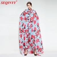 Fashion Print Regular Bodysuits For Women 2018 Spring New With Shawl Elastic Waist Roses Print Full Sleeve Slim Lantern Pants