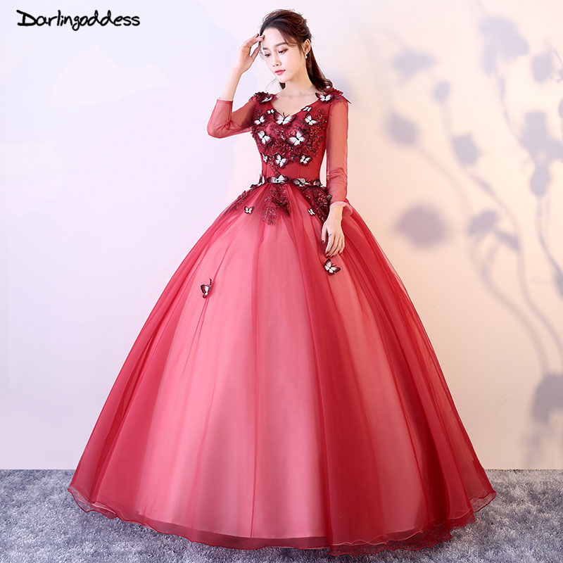 Cheap Quinceanera Gowns Red Long Sleeve Quinceanera Dresses 2018 Ball Gown Sweet 16 Dresses Vestidos De 15 Anos Formal Gowns