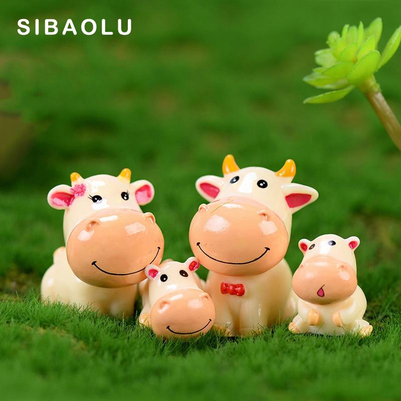 4pcs Cute Cow Family Animal Model Figurine Home Decor Miniature Fairy Garden Decoration Accessories Statue Resin Craft Figure