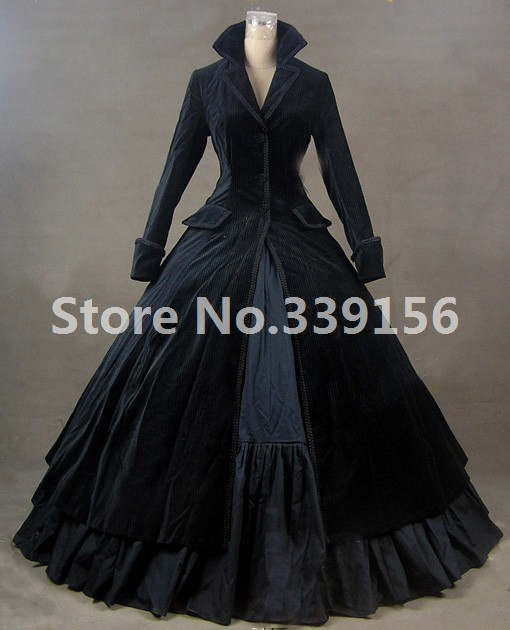 Medieval Rococo Black Gothic Victorian Dress Edwardian Masquerade Stage Theatricality Performance Dresses