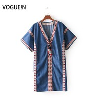 VOGUEIN New Womens Embroidery Geometric Vintage V Neck Short Sleeve Mini Dress Wholesale