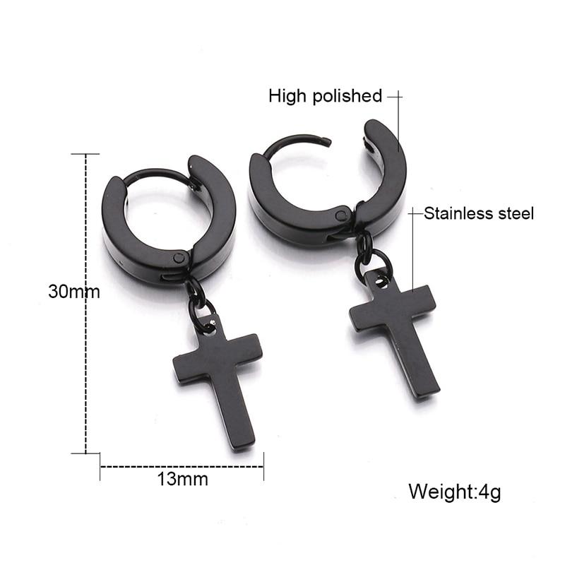 5dd72f8e4 Newest Punk Stainless Steel Black Cross Design Earrings Silver Plated Drop  Earring Classic Design Jewelry for Men-in Drop Earrings from Jewelry ...