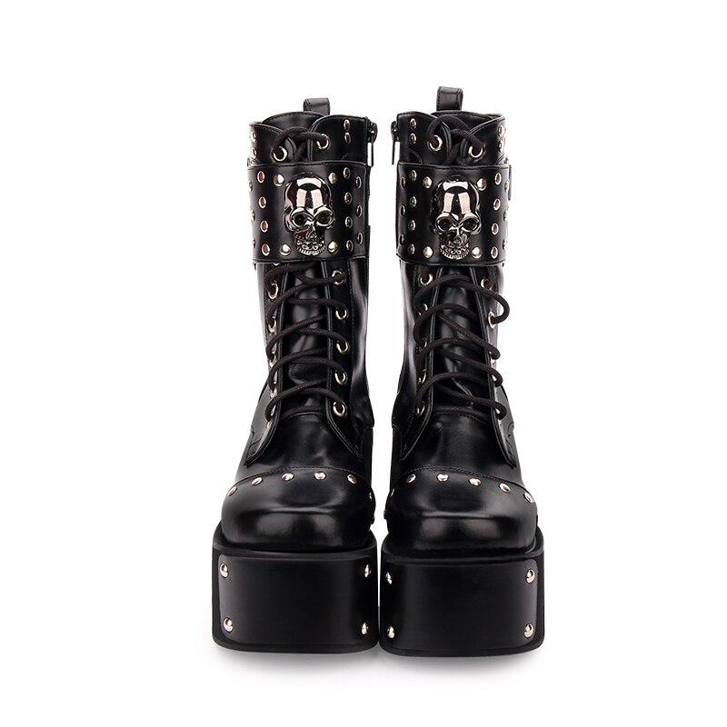 2eed9cf72bb5c Punk Légales Lolita Noir Hauts Femme Bottes Rivets Angéliques Talons Moto  Pompes 47 Cales Fille Mentions ...
