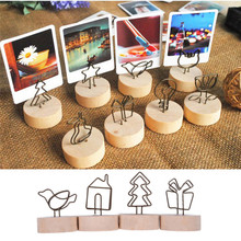 1pc Wooden Iron Photo Clip Creative Round Memo Name Card Pendant Furnishing Articles Picture Frame