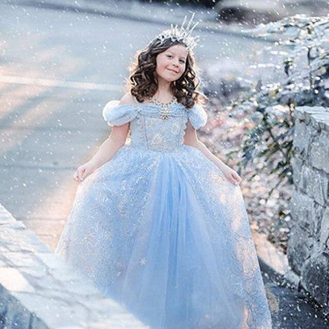 Европа замороженные девушки платье пузырь рукав принцесса свадебное платье партии девушки платья рождественских одежда малышей подросток одежда 9