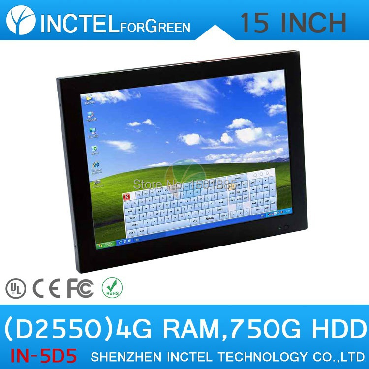 5 wire Gtouch industrial15 inch LED touchscreen computer with 4G RAM 750G HDD