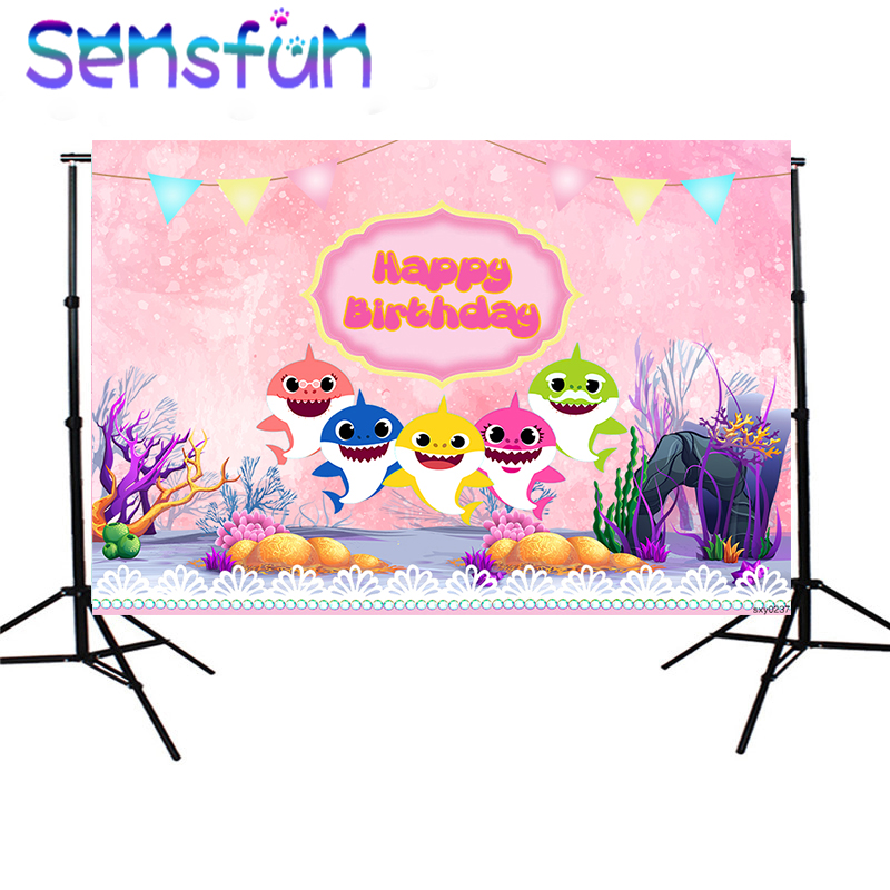 SXY0237 Pink Photobooth Cartoon Under Sea Shark Backdrops Girls Birthday Photography Backgrounds For Photo Studio 220x150cm
