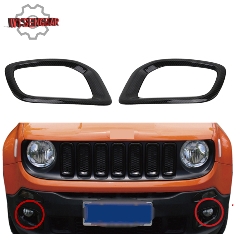 WISENGEAR 1Pair Front Fog Light Bezel Trim Cover for Jeep Renegade 2015 2016 2017 Carbon Black Decorative Fog Lamp Frame CEK107 neworig keyboard bezel palmrest cover lenovo thinkpad t540p w54 touchpad without fingerprint 04x5544