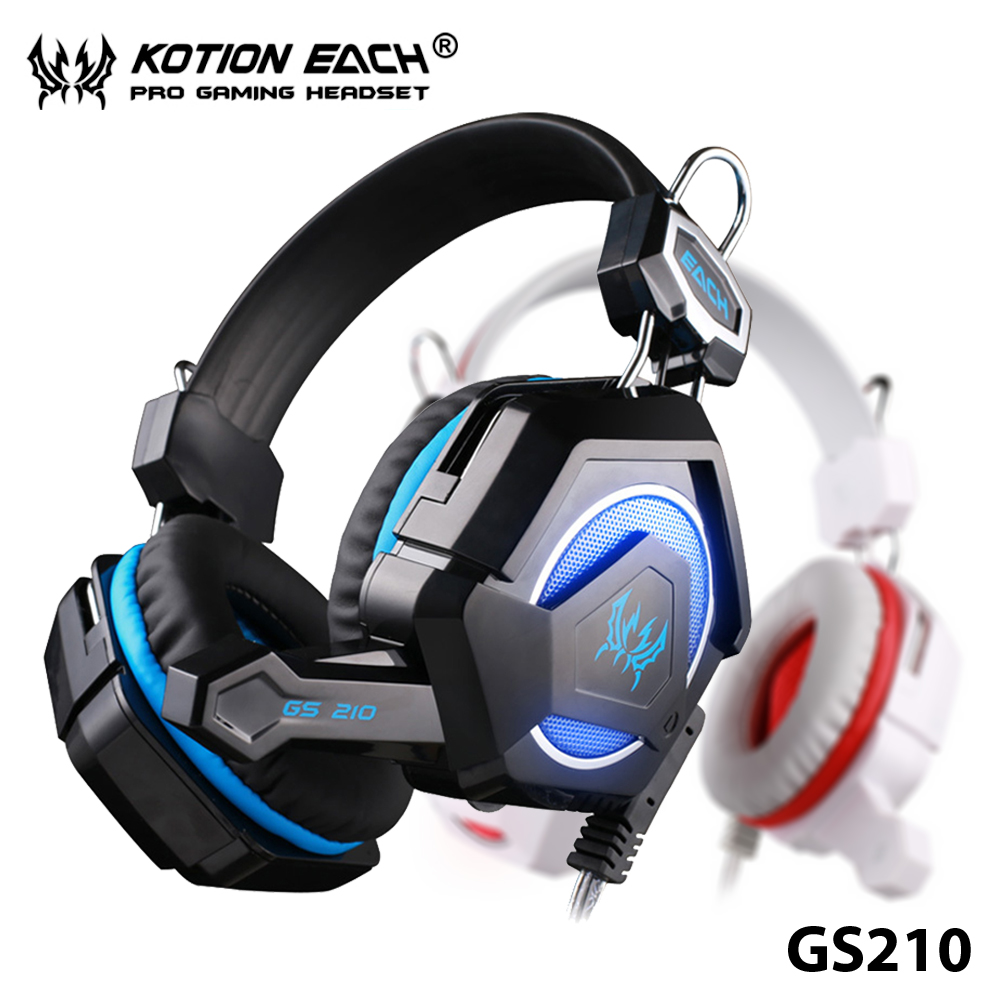 ФОТО EACH GS210 GS200 3.5mm KOTION Gaming Headset With Mic Breathing LED Headphone Luminous Music Game Enjoy