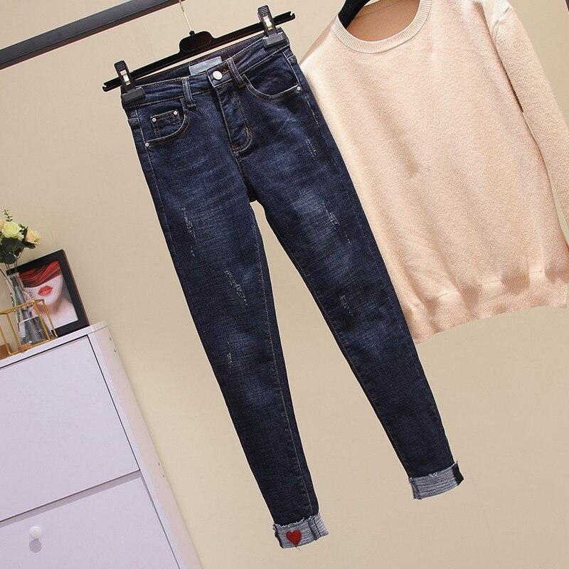 XL-4XL Plus Size Slim   Jeans   For Women Skinny High Waist   Jeans   Elasticity Blue Denim Pencil Pants Waist Appliques   Jeans   Feminina