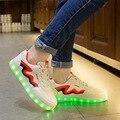 Tamaño del eur 35-44 tenis feminino led simulación cesta led running shoes light up entrenadores zapatillas luminoso que brilla intensamente led zapatillas