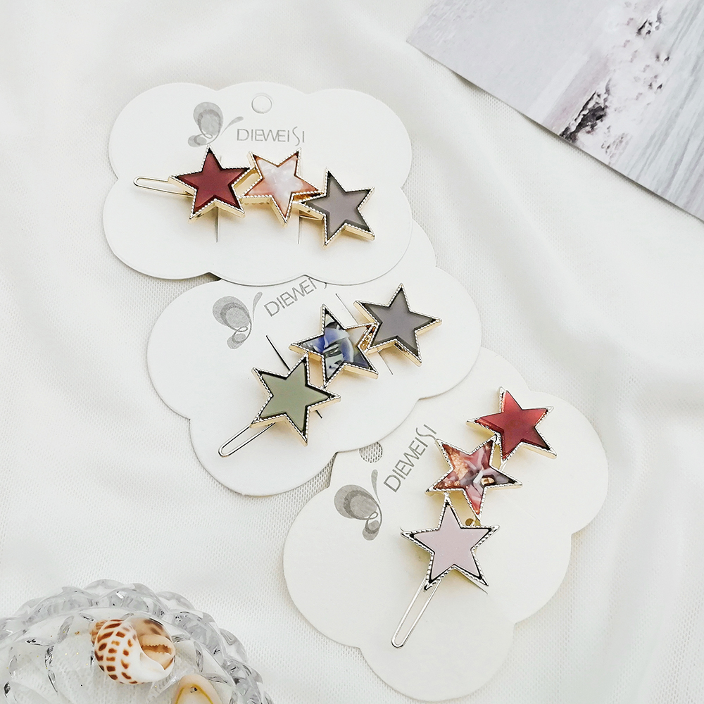 MAA-OE 2019 Fashion Silver Colorful Five-pointed Star Hair Clips For Women Girls New Korea Hairpins Set Female Hairwear Jewelry(China)