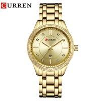 Curren 9010 часы Для женщин Повседневное модные Кварцевые наручные часы дамы подарок кристалл Дизайн Relogio feminino цвета: золотистый, синий