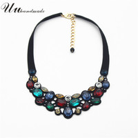 Collares Real Sale Anime Transparent Gems Pendant Necklace Fine Jewelry 2017 Short Chain Chokers Necklaces 7 Color Mosaic Glass