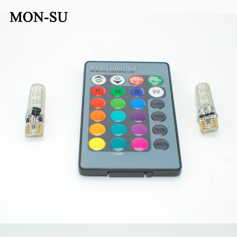 MON-SU Car LED lights T10 RGB LED Bulbs Remote Controller RGBW 501 194 168 6SMD 5050 Silicone Strobe Car Wedge Side Light 12V