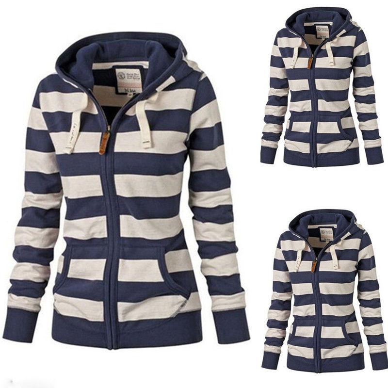 Autumn Winter Long Sleeve Women Sweatshirt Hoodie Zip-Up Tops Coats New Casual Striped Zipper Tracksuit Coat Outwear