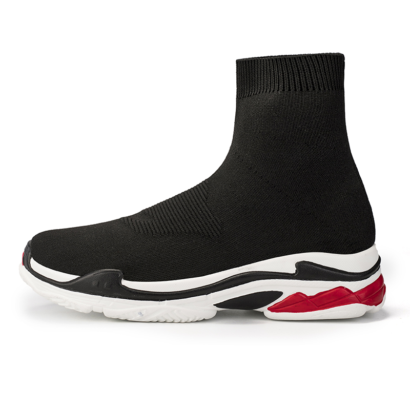 Light High Top Summer Breathable Casual Socks Boots Men Stretch Men Sock Shoes Flat Black White Red Sole Shoe Fashion Footwear