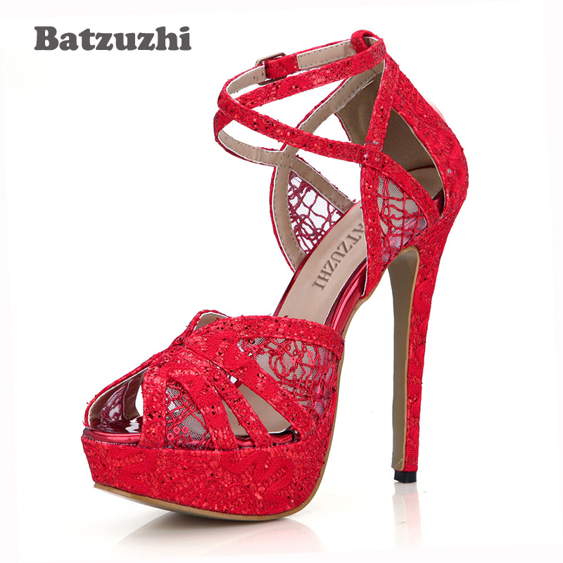 Batzuzhi Sexy 14cm Platform Shoes Red Lace High Heel Pump Shoes Peep Toe Ankle Strap Heels for Women Party and Wedding, Size 43 rihanna anti tour hat bitch i know you know hip hop swag hats snapback bone baseball cap dad hats for man visor