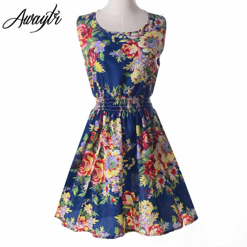 5d9369884e7 ... 19 цветов 2019 новое летнее женское платье повседневное без рукавов  шифоновое перо цветочный принт платье Vestidos ...