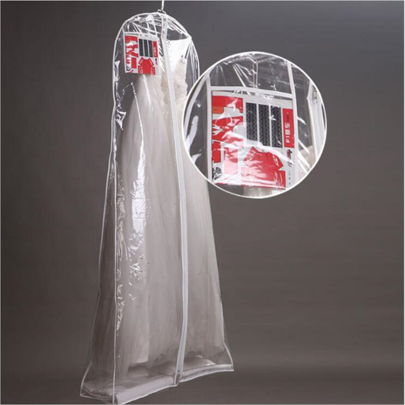 Wholesale For Wedding Dress Transparent Dust Cover Extra Large Waterproof PVC Solid Evening Clothing Garment Bags Printed LOGO