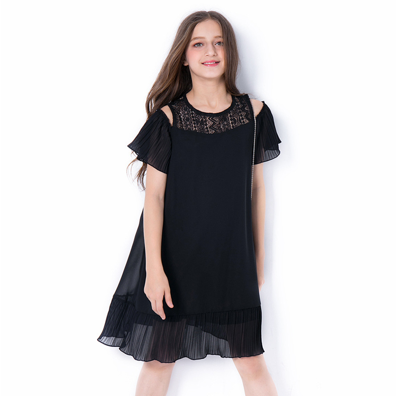 Big Girls Black Chiffon Dress 2018 Summer New Fashion Short Sleeve Knee Length Dresses Teenage Girl Kids Loose Fit Ruffle Dress