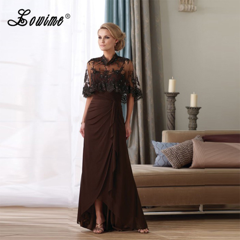 Chocolate Chiffon Mother Of The Bride Dresses With Lace