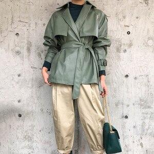 Image 3 - [DEAT] 2020 New Spring Autumn Lapel Long Sleeve Pocket Belt Bandage Loose Personality Leather Jacket Women Coat Tide 10D374