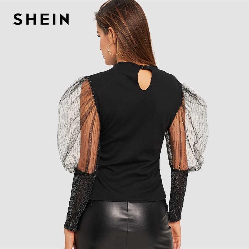 f73526a1b7 ... SHEIN Black Contrast Mesh Insert Puff Sleeve Rib-Knit Slim Fit Plain T  Shirt 2019 ...