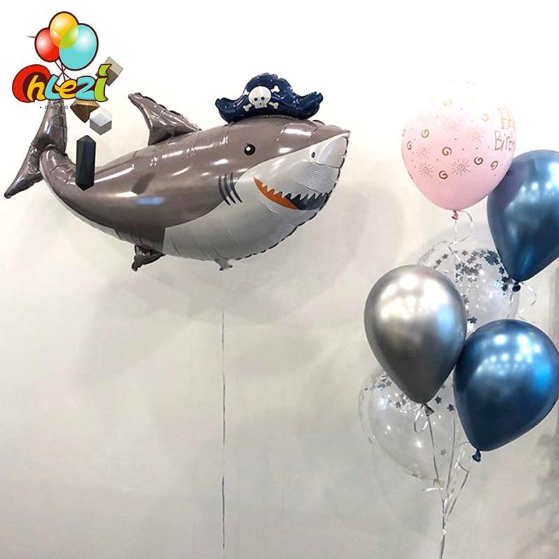 1 шт., морские гелиевые шары в форме животных, акулы, креветки, осьминог, Русалочка, морская лошадка, мультяшная фигура, детский душ, морская т...