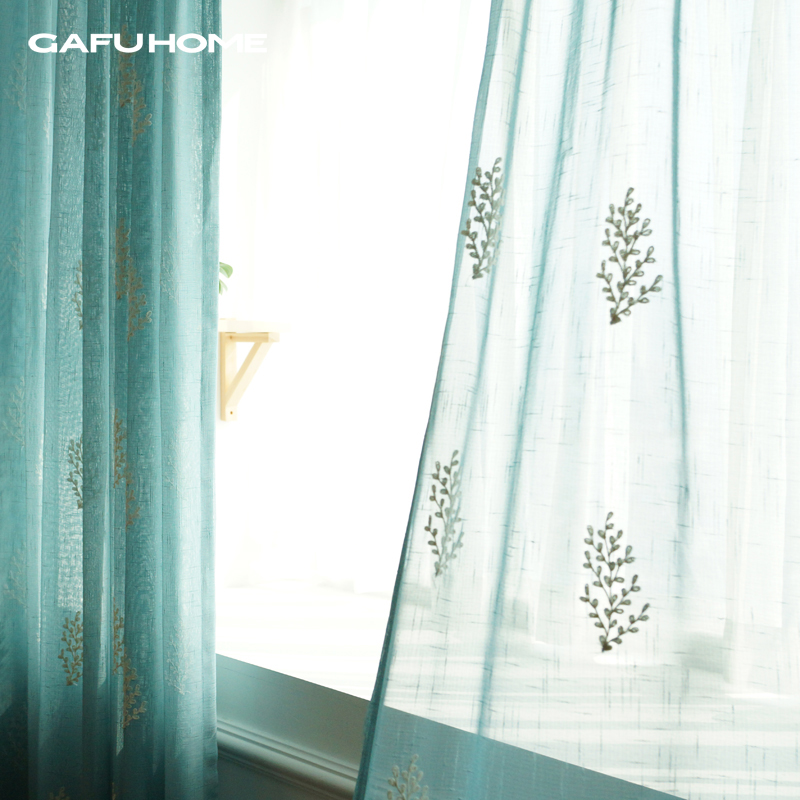 width300cm Blue rustic embroidery flower/leaves window screening curtain Euro style beautiful decoration tulle/organza/voile