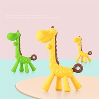 Safety Silicone Dental Care Giraffe Animal Funny Baby Teether Teething Toothbrush Stick Infant Pacifier Teething Clips